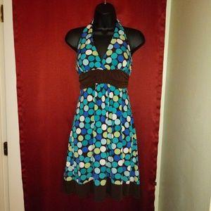 💜 Teal & Chocolate Halter Dress